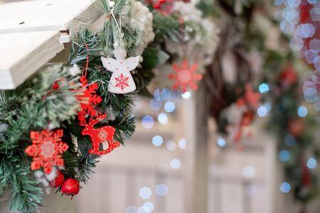 Christmas decoration.Christmas decoration background, Christmas tree and holidays ornament 写真素材