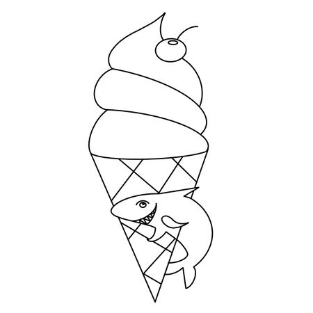 Coloring book for children with the image of ice cream and shark. Childrens coloring for the little ones. Application in printed matter, the manufacture of coloring for children and other applications.