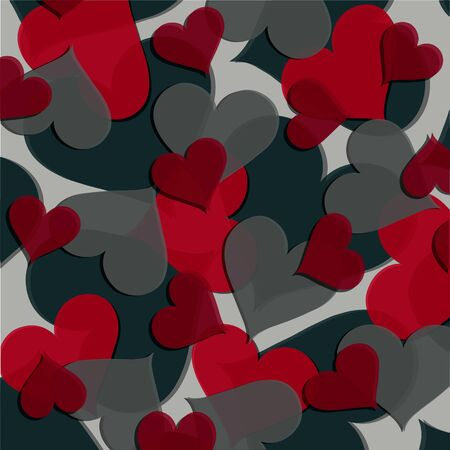 Vector texture of hearts in red and pink colors of different sizes. Valentine's day illustrations, romantic themes. Application in printed materials, wrapping paper and much more.