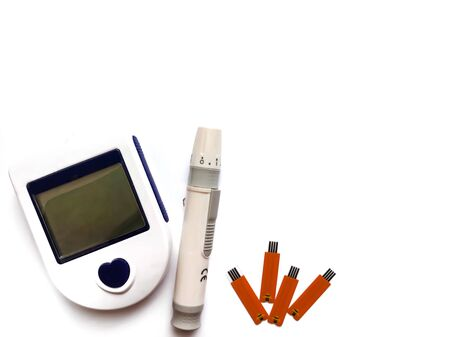 Glucometer isolated on a white background.The device for measuring blood glucose in diabetes.