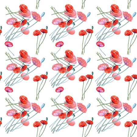 Watercolor seamless pattern with the image of flowering poppies and fruit boxes. Stock Photo