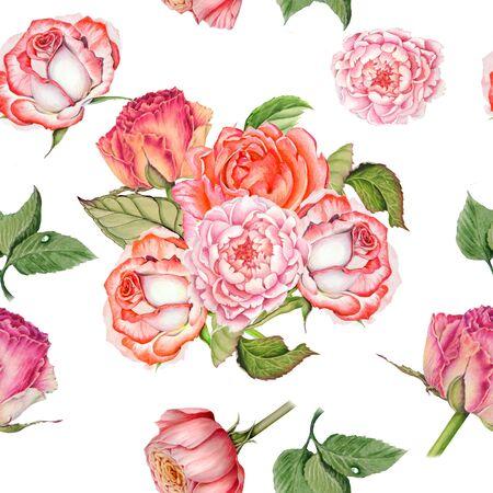 Acuarela de patrones sin fisuras de ramos de rosas