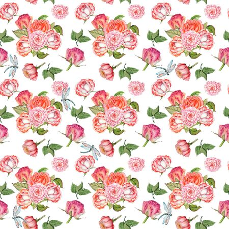 pattern of bouquets of roses and dragonflies