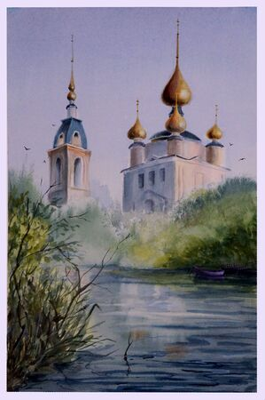 Watercolor picture of a landscape depicting a summer foggy morning with a Church by the river. Фото со стока