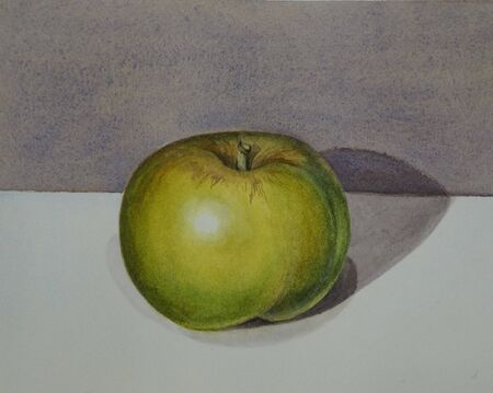 Watercolor still life with a green Apple on a gray background. Symbol of knowledge. Juicy apple. Watercolor drawing. Imagens - 138297689