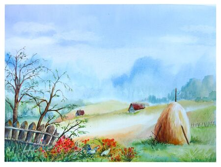 Watercolor landscape of a summer morning in the village with a stack, an old fence, houses and chickens.