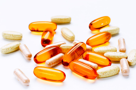 additives: Biological additives to food, vitamins for a healthy lifestyle Stock Photo