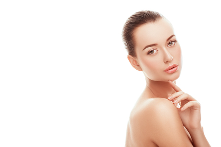 Face of attractive young and healthy woman with nude makeup. Health care, spa, makeup, face lifting concept.