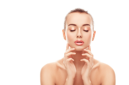 Portrait of beautiful young woman with clean skin, fresh skin touch. Cosmetology, beauty, spa 스톡 콘텐츠