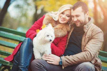 Beautiful family couple with white cute Maltese dog spending time in autumn park. Man and woman sitting on a bench and having fun with their pet terrier. Family, animal, life, people, seasonal concepts. Stock Photo