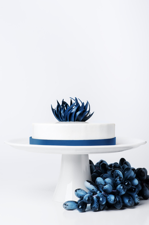 Wedding modern trendy white cake on cake stand isolated background with grape or berry set decorated blue trendy chocolate flower and ribbon. Dessert Food concepts. Mousse cake with white glaze Foto de archivo