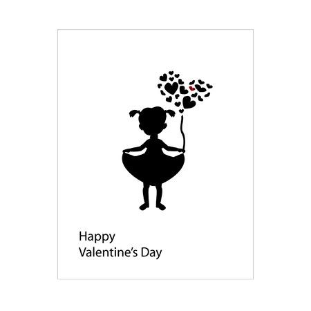 はがき、バレンタインの日、バレンタイン、バレンタインの背景、バレンタインデーの背景のイラストが大好き、心  イラスト・ベクター素材