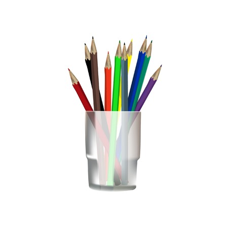 Colored pencils, pencils in glass,  pencils vector Illustration