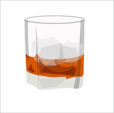 bourbon whisky: Illustration of whiskey, whiskey glass