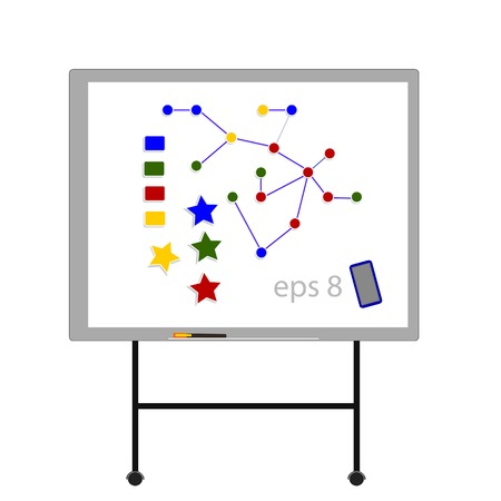 seminar: Illustration of white board with magnets,  whiteboard, board, black board