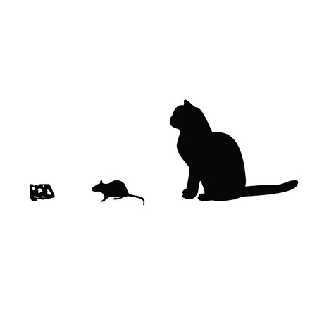 cat clipart: Illustration of mouse, cat, cheese silhouette Illustration