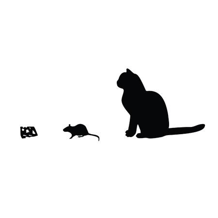 ratones: Ilustraci�n de rat�n, gato, silueta queso