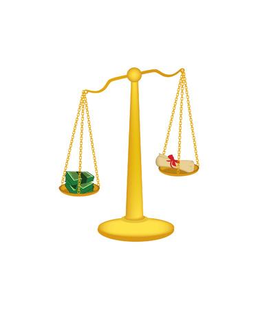 ungleichgewicht: Gold-Waage, libra isoliert libra Vektor