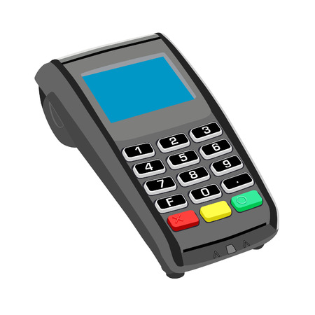 pos: Pos,  pos machine,  credit card  credit card terminal Illustration