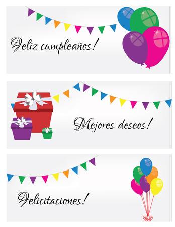 Illustration Of Happy Birthday Card Birthday Card Spanish Text