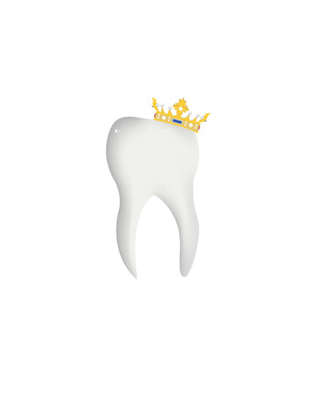 tooth crown: Illustration of tooth, crown, isolated tooth, vector tooth