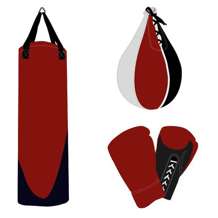 punched: Boxing set, boxing gloves, punching bag, boxing bag Illustration