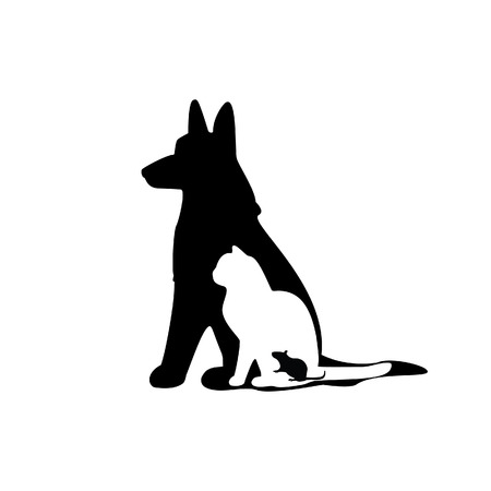 puppy and kitten: Illustration of mouse, cat, dog, mouse silhouette, cat silhoutte, dog silhouette