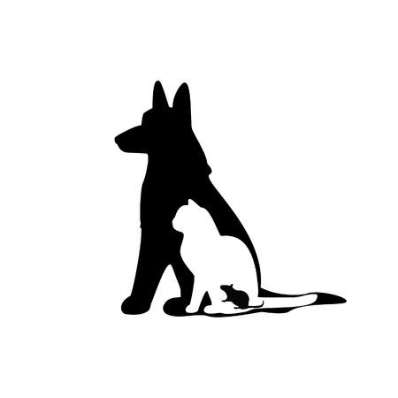 Ilustración de ratón, gato, perro, silueta del ratón, silueta del gato, silueta del perro