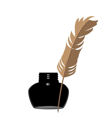 inkwell: Inkwell and feather, inkwell vector, feather, black Illustration
