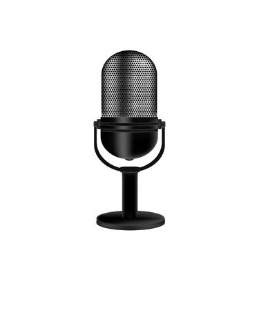 microfono antiguo: Micr�fono, micr�fono del vintage, micr�fono de edad, aislado micr�fono retro Vectores