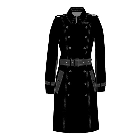 trench coat: Trench coat, trench coat vector, trench coat isolated Illustration