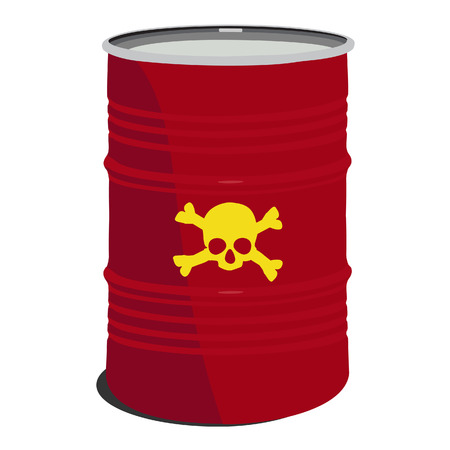 radioactive tank and warning sign: Red barrel toxic, radioactive, container, danger, toxic barrel Illustration