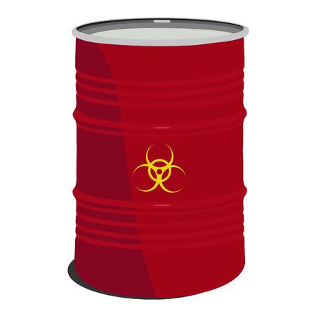 Red barrel toxic, radioactive, container, danger, toxic barrel Vector