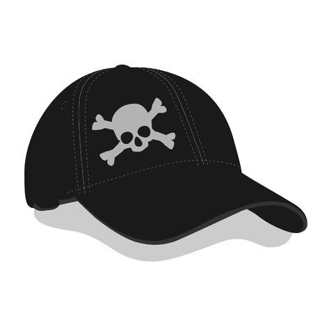 balck: Black baseball cap, black cap, skull, balck baseball cap vector Illustration