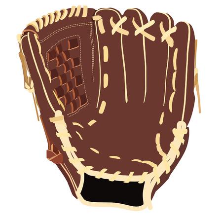 guante de beisbol: Guante de b�isbol, guante de b�isbol aislado, guante de b�isbol marr�n, vector guante de b�isbol Vectores