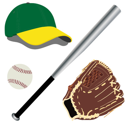 guante de beisbol: Gorra de b�isbol, sombrero de b�isbol, bate de b�isbol, guante de b�isbol Vectores