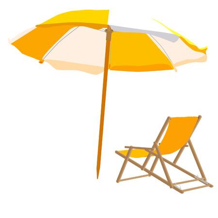 Beach chair and umbrella, beach chair, beach umbrella