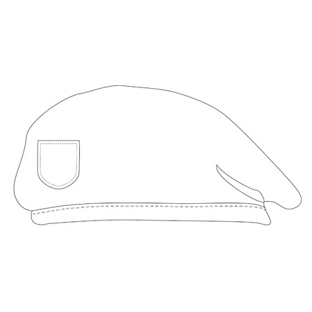 military beret: Army beret, outline drawingss, military beret , beret isolated