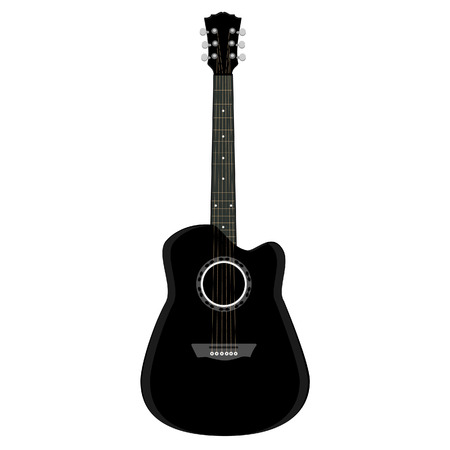 Guitar ,black guitar, acoustic guitar, guitar isolated Illustration