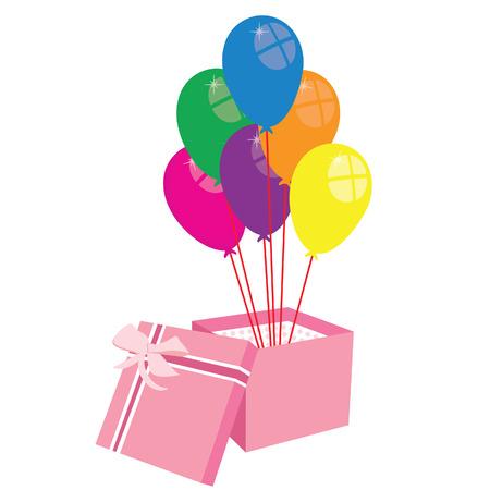 Box with balloons, gift box, balloons vector, present Vector