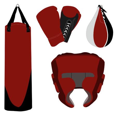 guantes boxeo: Guantes de boxeo, casco de boxeo, la bolsa de boxeo, saco de boxeo Vectores