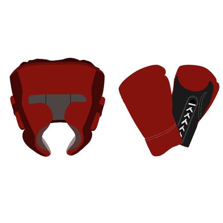 guantes boxeo: Casco de boxeo, guantes de boxeo, boxeo casco rojo y guantes
