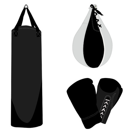 punching bag: Boxing set, boxing gloves, punching bag, boxing bag Illustration