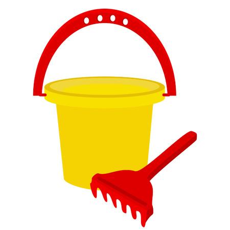 beach toys: Beach toys, sand rake, sand toys, baby bucket Illustration