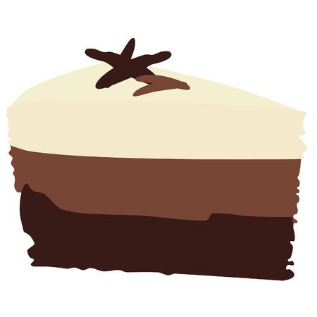Chocolate cake, chocolate cake slice, chocolate cake isolated, vanilla Vector