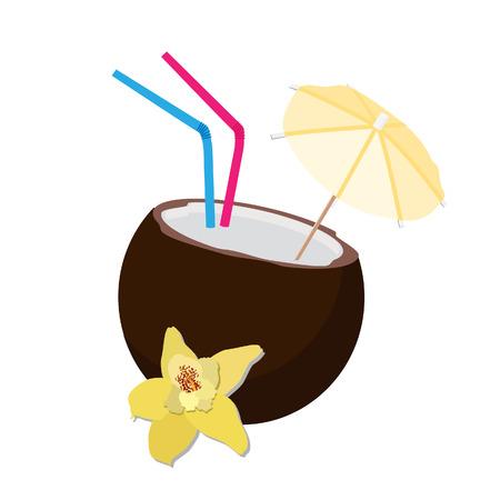 coco: Coco cóctel, bebida de coco, coco cóctel aislado, exótico Vectores