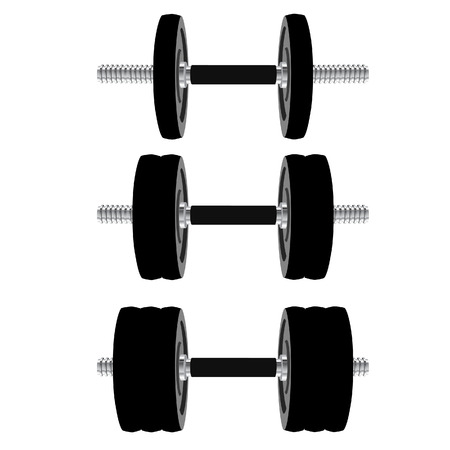 body building: Black dumbbell isolated on white, body building, weight lifting