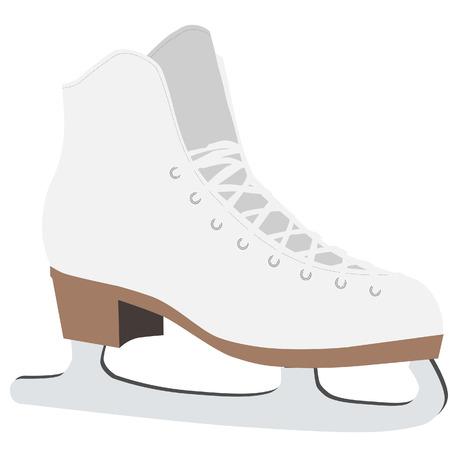 Eiskunstlauf, Schlittschuhlaufen, weiße Figure skates, Eiskunstläuferin Vektorgrafik