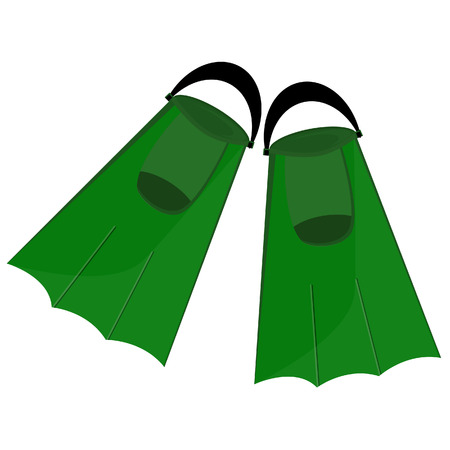 flipper: Green flippers, flippers isolated,diving equipment, swimming tourism Illustration