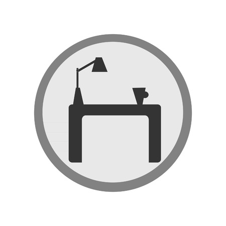 tea lamp: Grey round furniture flat icon with table, cap of tea and table lamp Illustration